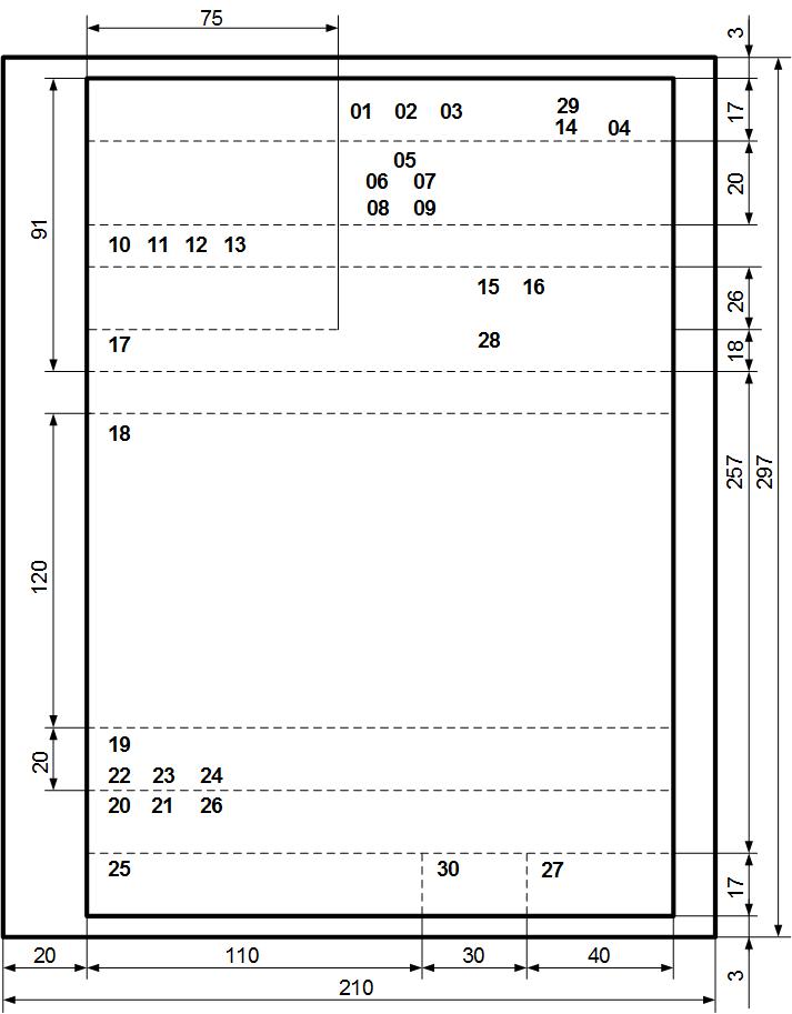 Расположение реквизитов и границы зон на формате A4 продольного бланка